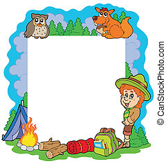 Outdoor summer frame - vector illustration