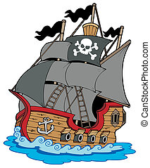 Pirate vessel on white background - vector illustration