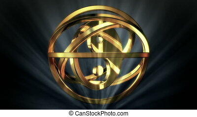 Golden Yin Yang in Rotor Shine - background animation for...