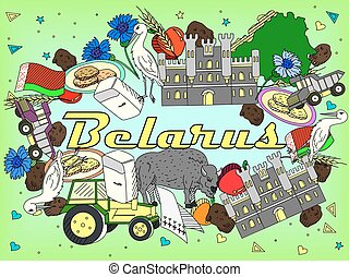 Belarus vector illustration - Vector line art Doodle set of...