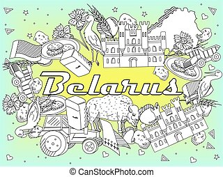 Belarus Coloring vector illustration - Vector line art...