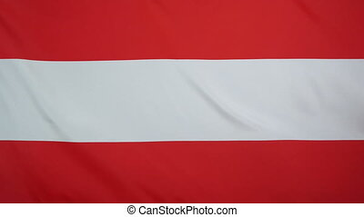 Austrian Flag real fabric Close up - Textile flag of Austria...