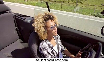 Young Black Sexy Lady Driving The Car - Young black sexy...