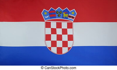 Croatia Flag real fabric Close up - Textile flag of Croatia...