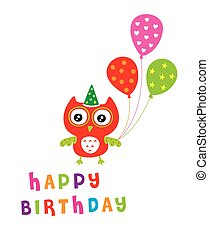 owl birthday party card