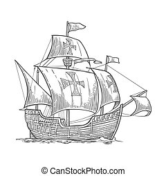 Sailing ship floating on the sea waves. Caravel Santa Maria with Columbus. Hand drawn design element. Vintage vector engraving illustration for poster, label, postmark. Isolated on white background.