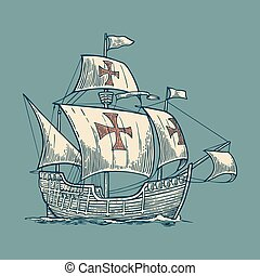 Sailing ship floating on the sea waves Caravel Santa Maria...