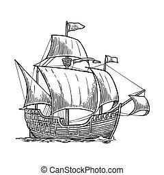 Sailing ship floating on the sea waves. Caravel Santa Maria...