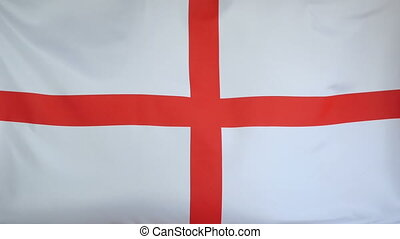 England Flag real fabric Close up - Textile flag of England...