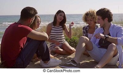 Friends Have A Great Conversation. - Five young friends...