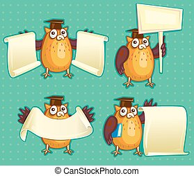 Wise owls with blank sign copy space for own text