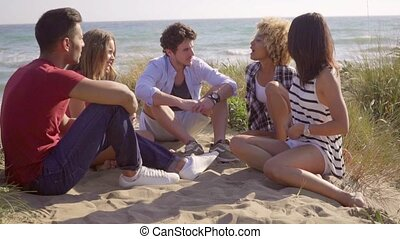 Group of friends sitting and chatting on the beach - Group...
