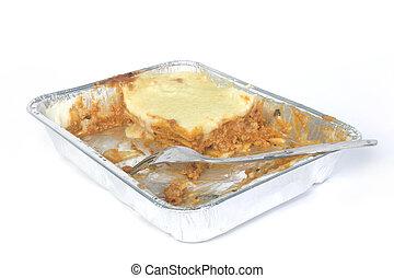 TV-dinner lasagna almost eaten - TV dinner lasagnas in...