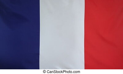 France Flag real fabric Close up - Textile flag of France...
