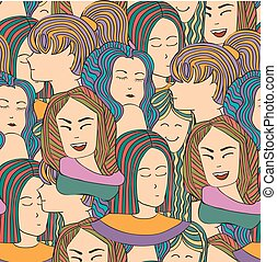 Seamless vector pattern with a crowd of people women,  girls in colorful clothes