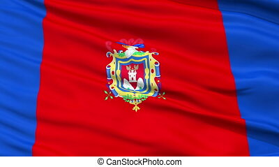 Quito City Close Up Waving Flag - Quito Capital City Flag of...