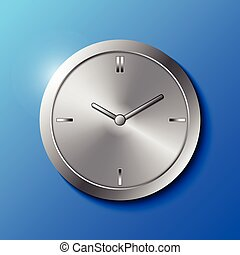 Stainless Steel Wall Clock on Blue Background Vector...