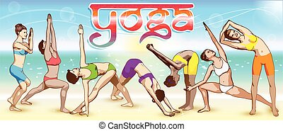 Yoga Banner - A set of yoga postures female figures: the...