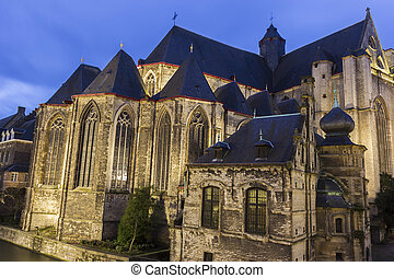 Saint-Michaels Church in Ghent in Belgium in the evening