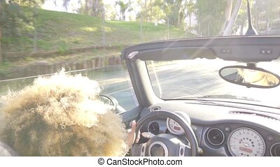 Young woman driving sports car or cabriolet with the top...