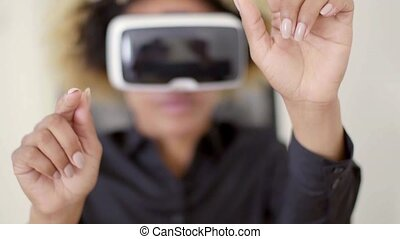 Woman Using 3D Virtual Reality Headset - Woman wearing 3d vr...