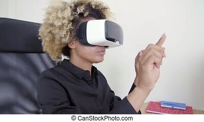 3D Virtual Reality Headset - Business black young woman...