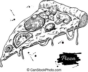 Vector Pizza slice drawing. Hand drawn pizza illustration....
