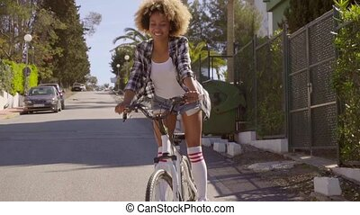 Happy Woman Riding The Bicycle