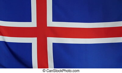Iceland Flag real fabric Close up - Textile flag of Iceland...