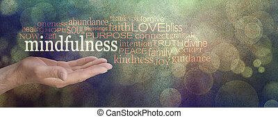Mindfulness Word Cloud Grunge Banne - Male hand palm up with...