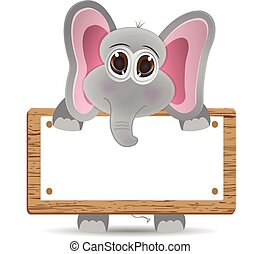 elephant and text board - cute vector elephant with text box