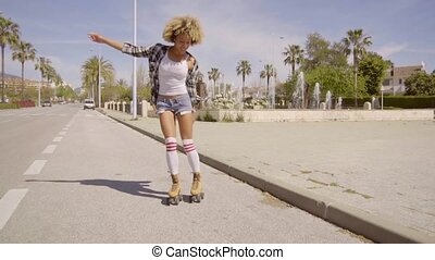 Exotic Young Woman On Vintage Roller Skates - Young...
