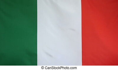 Italy Flag real fabric Close up - Textile flag of Italy with...
