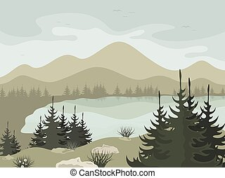 Forest2 - Forest and mountain lake. Vector illustration