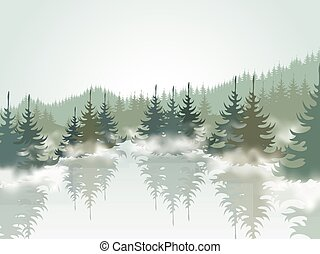 Forest3 - Forest and mountain lake. Vector illustration