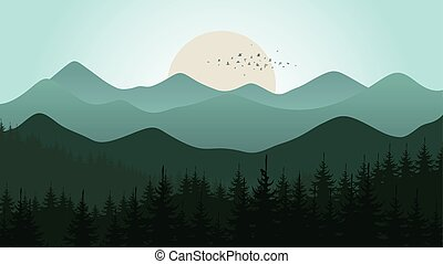 Mountain5 - Forest and mountain landscape. Vector...