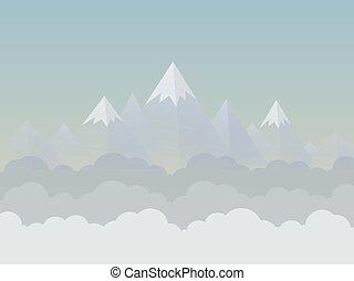 Mountain6 - Mountains and sky. Vector illustration