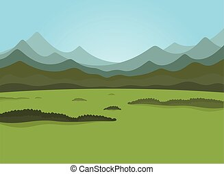 Mountain7 - Field and forest field Vector illustration