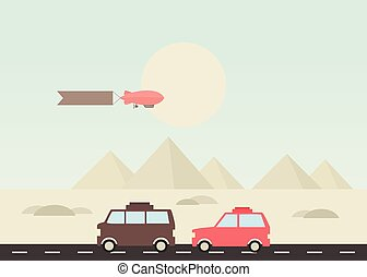 Pyramid travel - Journey to the pyramids on a car Vector...