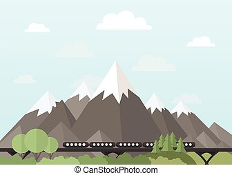 Train in the mountains - Train rides in the mountains Vector...
