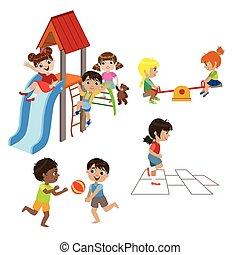 Kids Playing Outdoors Set