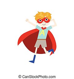 Boy In Superhero Costume With Red Cape Funny And Adorable...