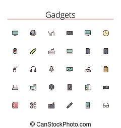Gadgets Colored Line Icons