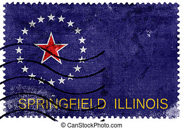 Flag of Springfield, Illinois, old postage stamp