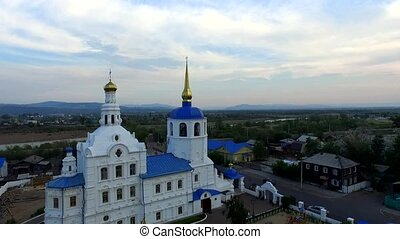Flight over Cathedral in Ulan-Ude, Buryatia. - An aerial...