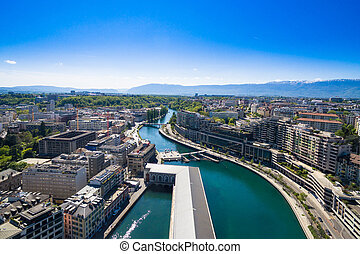 Aerial view of  Geneva city in Switzerland