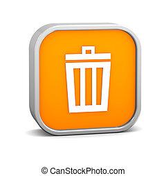 Orange Trash Bin Sign - Orange trash bin sign on a white...