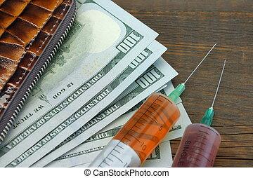 dólar, Dinheiro, nós, dois, carteira, siringa