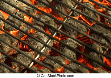 BBQ Grill And Glowing Hot Charcoal Briquettes In The...