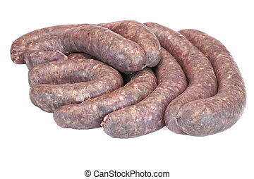Some Raw Bratwurst In Natural Casing Isolated On White -...